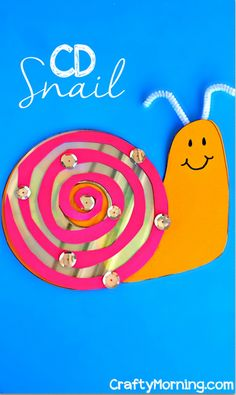 CD Snail Craft for Kids to Make - Super cute and easy! #upcycle #preschool #kidscrafts