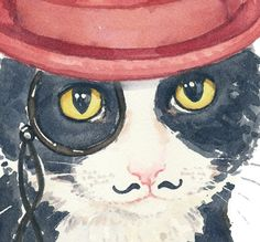 Tuxedo Cat Watercolor Original 8x10 Painting by WaterInMyPaint