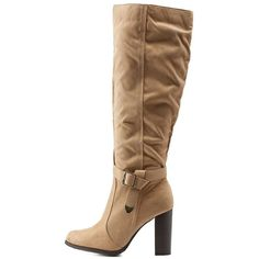Mark & Maddux Belted Knee-High Chunky Heel Boots ($50) ❤ liked on Polyvore featuring shoes, boots, beige, rubber sole boots, stretch riding boots, chunky heel boots, chunky heel knee high boots and knee length boots