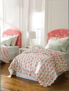 Lulu Dk for Matouk Petals - Stylized pink and green flower pattern on white percale 300 thread count long staple cotton. Pictured here: Petals Standard Shams, Duvet Covers; Tulah Boudoir Shams, Standard Cases and Fitted Sheets. Home Bedroom, Girls Bedroom, Bedroom Decor, Teen Bedrooms, Bedroom Ideas, Girls Room Design, Bed Design, Little Girl Rooms, Queen