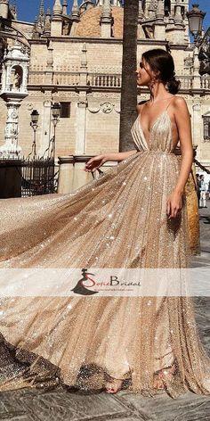 Spaghetti Deep V-neck A-line Sequin Tulle Prom Dresses, Gorgeous Sparkle Prom Dresses, PD0455