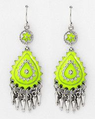 You Glow Girl Neon Yellow and Silver Statement Earrings-$18-Find hot fashion jewellery and statement jewlry at Strike Envy. #jewellery #jewlry