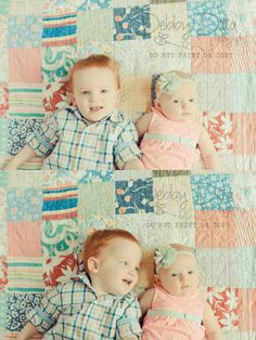 brother sister baby at 4 months. Easter antique quilt. Debby Ditta Photography Tomball, TX Texas photographer
