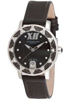 Stuhrling Original Created in a blend of fashion and class, this Stuhrling timepiece exhibits a bold style that adds flare to your collection. Bold Fashion, Womens Fashion, Black Leather Watch, Casio Watch, Quartz Watch, Omega Watch, Rolex Watches, Cool Style, The Originals
