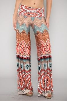 Coral Reef or Neptune Italian Print Silky Sexy Stretch Wide Leg Palazzo Pants | eBay