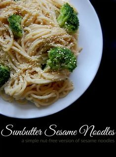 Sunbutter Sesame Noodles this is a great nut free alternative to standard sesame noodles! This dish is nice and easy. You can whip up the sauce while the noodles and broccoli are cooking and then you just toss it all together at the end. #sesame #sunbutter #noodles #pasta #healthy #nutfree Healthy Sides, Healthy Side Dishes, Veggie Dishes, Pasta Dishes, Whole Food Recipes, Healthy Recipes, Healthy Drinks, Healthy Meals, Healthy Eating