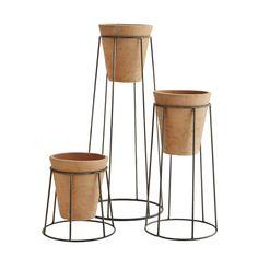 Komplet doniczek ceramicznych na stojaku Madam Stoltz