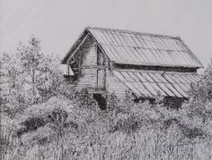 Pen and Ink Drawings of Houses | Traditional Art Guild – Hidden Barn