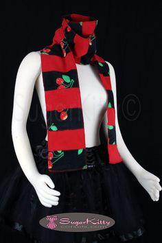 Ultra Long Red & Black Cherry Print Stripe Fleece Scarf