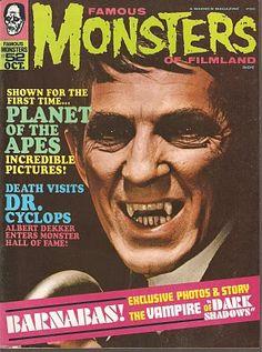 "Famous Monsters of Filmland - issue - 1968 - ""Dark Shadows"" - Barnabas Collins (Jonathan Frid) Classic Monster Movies, Classic Monsters, Sci Fi Horror, Horror Comics, Horror Art, Scary Comics, Horror Films, Dracula, Dark Shadows Tv Show"