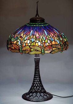 """The 22"""" Dragonfly Tiffany laded glass lamp on a Bronze Junior floor base"""