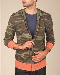 New-- Alternative - Printed Eco-Jersey Hooded Full-Zip - 1970ea