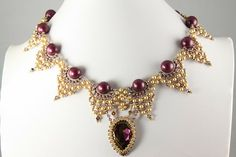 Bib-Style Necklace, Cufflet and Earring Set with SWAROVSKI ELEMENTS and Seed Beads