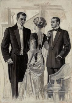 an Editorial story illustration while VERY young and starting out (my guess) VERY early ...just lets us know that he ONCE was still learning! Note: the style of flesh rendering is there, but fabrics not 100% yet - by J.C. Leyendecker