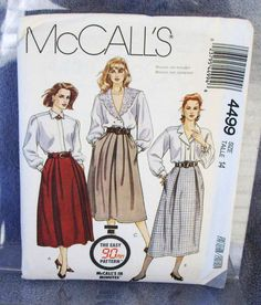 1989 Uncut  McCalls Pattern 4499 Misses by lovelylovepatterns, $4.25
