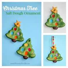 Use the kid's fingerprints to create lights on these adorable Christmas tree ornaments made from salt dough! Makes a beautiful kids craft and keepsake for years to come.