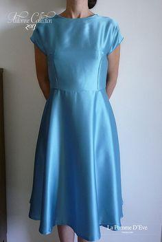 Blue Satin Cocktail Dress on Etsy, 200,00€