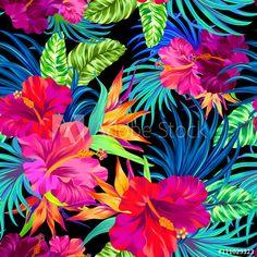 vector hibiscus pattern on black