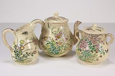 Vtg Small Glazed Pottery Teapot Creamer Lidded Sugar Bowl W/ Enameled Flowers