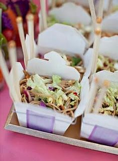 I LOVE the idea of serving something in take out boxes!