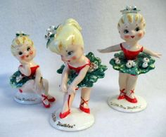 "Vintage 1950s ""Little Miss Mistletoe"" Dancing Christmas Figurines Set by Lefton"