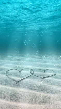 かわいいハート in 海底iPhone壁紙 iPhone 5/5S 6/6S PLUS SE Wallpaper Background