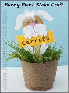 Easter Craft - Easter Bunny Plant Stake Craft Kids Can Make from www.daniellesplace.com