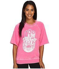 NWT $74 Spiritual Gangster Hamsa Waves Pink Short Sleeve Sweatshirt sz M