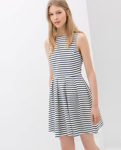 ZARA Ecru/Blue Striped Cotton Backless Dress-$79.90