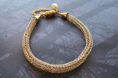 Gold Viking Knit Bracelet with Pearl Charm on Sale by Suzjewelry, $19.00