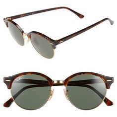 Ray-Ban 'Club' 51mm Round Sunglasses ($167) ❤ liked on Polyvore featuring accessories, eyewear, sunglasses, retro round sunglasses, round sunglasses, round frame glasses, uv protection sunglasses and ray ban glasses