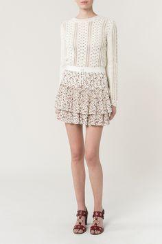 Floral printed crepe de Chine Gwenoline skirt