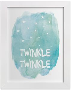 Design a 'sun, moon and stars' theme baby nursery with Twinkle Twinkle, a limited edition watercolor art print by Amy Hall. Available on Minted.com