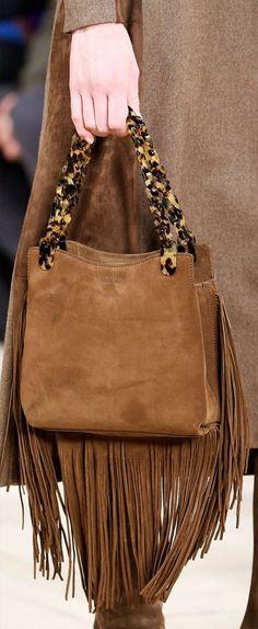 Ralph Lauren fringed suede bag, tortoiseshell chain handles.
