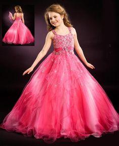 Hot Pink Flower Girl Dress For Wedding Girls Pageant Dresses Kids Evening Gowns