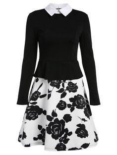Vintage A Line Print Panel Dress - BLACK XL