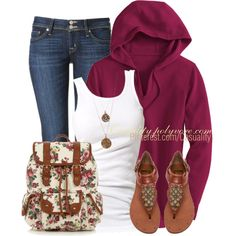 """Rose Printed Bag & Plum Hoodie"" by casuality on Polyvore"