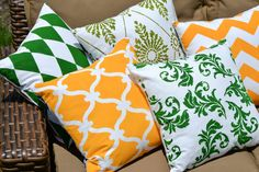 Green or Yellow: Which color accent pillow do you prefer?  ~ Shop now and create your favorite! >> http://www.paintapillow.com/?utm_source=JCG&utm_medium=Pinterest&utm_campaign=Home%20Page