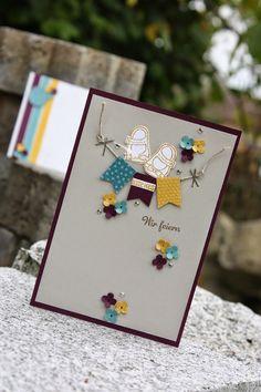 """Polly kreativ: SchaUfensterchallenge # 11 - Taufkarte """"Kleine ganz groß"""" Brombeermousse, Honiggelb, Lagunenblau, Saharasand"""