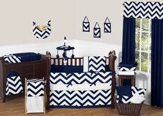 Navy Blue and White Chevron 9 Piece Crib Bedding Set