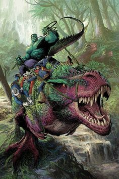 Stunning Illustrations by Nisachar This is a picture of The Hulk riding a T-rex. Any argument is now invalid.