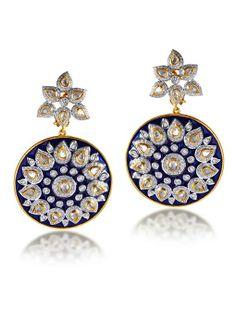 Polki earrings with blue enamel