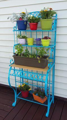 Bakers rack for herb garden & flowers