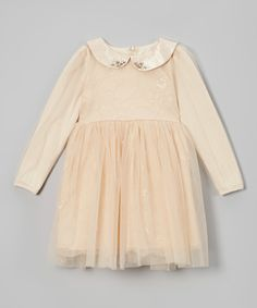 Frills du Jour Tan & Cream Lace Overlay Peter Pan Collar Dress - Toddler & Girls by Frills du Jour #zulily #zulilyfinds