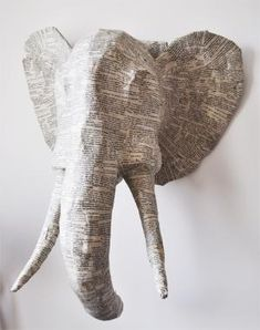 paper mache animal heads and it would be reallllyyy cool to paint them afterwards Paper Mache Projects, Paper Mache Clay, Paper Mache Sculpture, Paper Mache Crafts, Diy Paper, Paper Art, Paper Mache Animals, Paper Mache Animal Heads, Elephant Sculpture