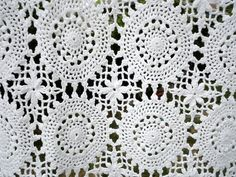 Vintage Crocheted Tablecloth Throw Rectangular White Ivory Wedding Cottage Farmhouse by metrocottage