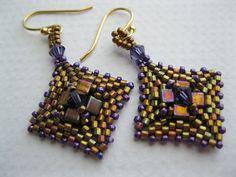 Purple and gold peyote beaded square earrings