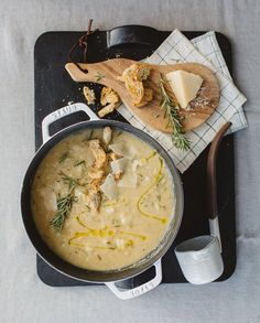 White bean, cauliflower and parmesan soup