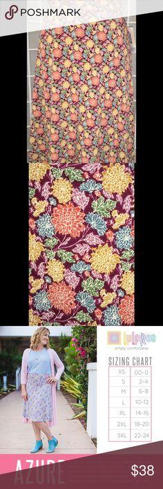 LulaRoe Azure XL Burgundy Print LuLaRoe Skirts Asymmetrical