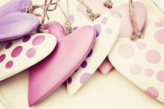 What lovely dotty hearts for a Valentine's Day decoration! Want to make something similar? You could use our plain long heart ornaments and paint them. This would make such a lovely Valentine's Day decoration for your home, shop, restaurant or hotel. More Valentine's crafts and DIY ideas from http://www.craftmill.co.uk